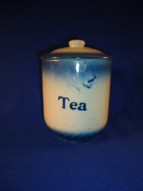 Blue and White Stoneware Diffused Blue Tea Canister by A. E. Hull