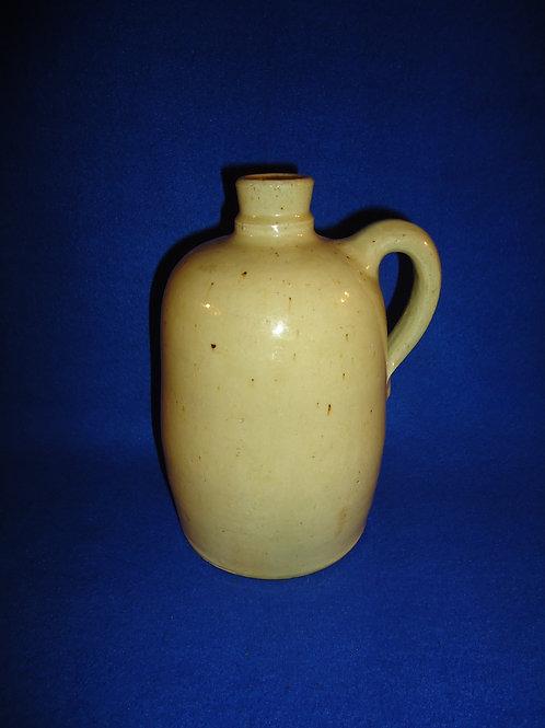 Circa 1880 1/2 Gallon Stoneware Jug with Creamy Yellow Glaze #5482