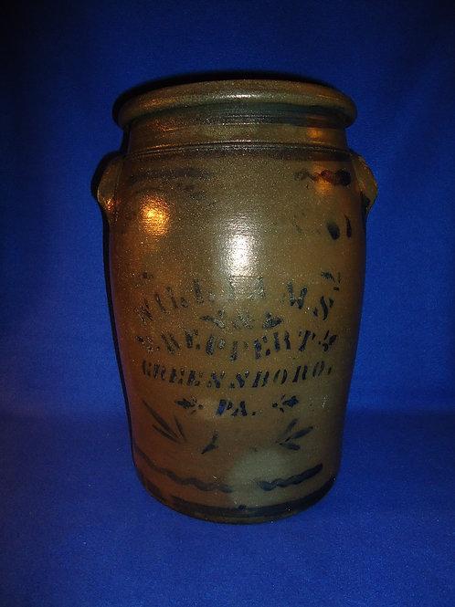 Williams and Reppert, Greensboro, PA 4g Stoneware Jar