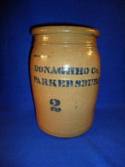 Donaghho, Parkersburg, West Virginia 2 Gallon Stoneware Jar