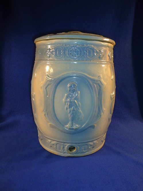 Blue and White Stoneware Cupid Water Cooler, Western Stoneware, Monmouth, IL