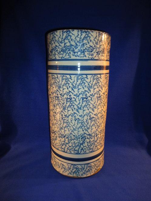 Blue and White Spongeware Stoneware Striped Umbrella Stand