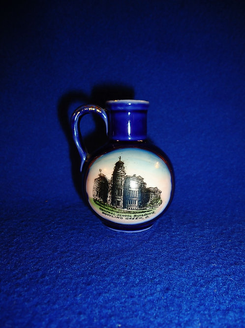 Blue and White Mini Jug, Bowling Green, Ohio