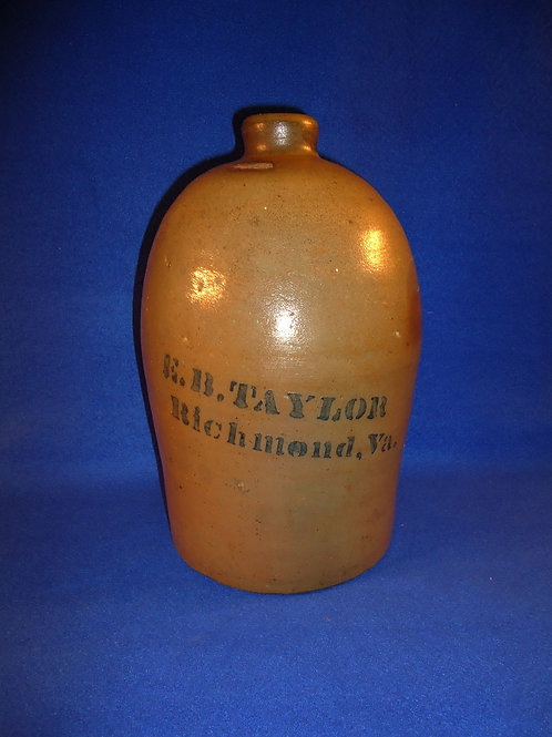 E. B. Taylor, Richmond, Virginia Stoneware 1g Jug by Donaghho of Parkersburg, WV