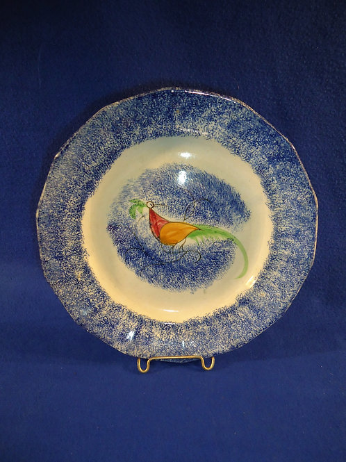 """Blue Spatterware 9 1/2"""" Plate with Red, Orange, Green Peafowl #4617"""