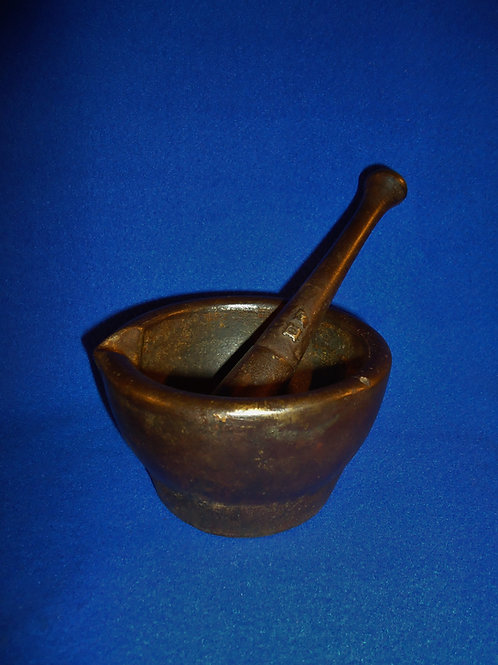 "19th Century Cast Iron Mortar and Pestle with ""EF"" Foundry Mark"