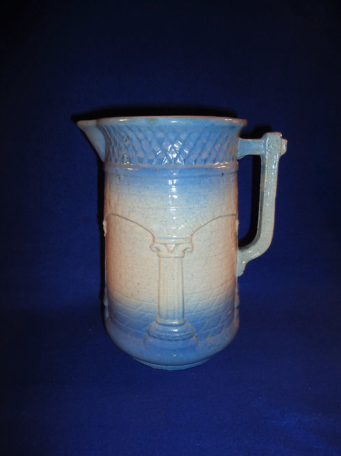 Blue and White Stoneware Columns and Arches Pitcher