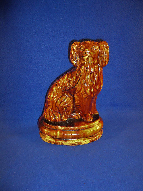 Yellow Ware Seated Spaniel Dog Figural Doorstop with Rockingham Glaze #5067