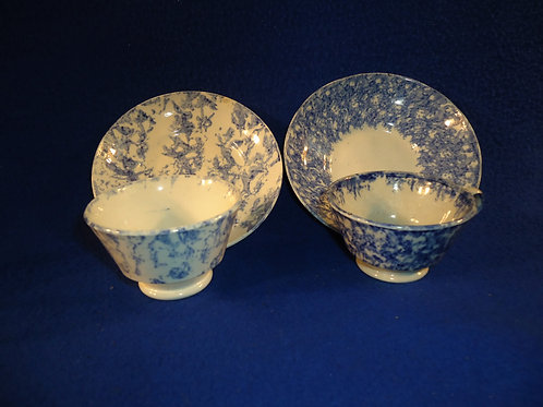 2 Blue and White Spongeware Toy Cups and Saucers for 1 Money