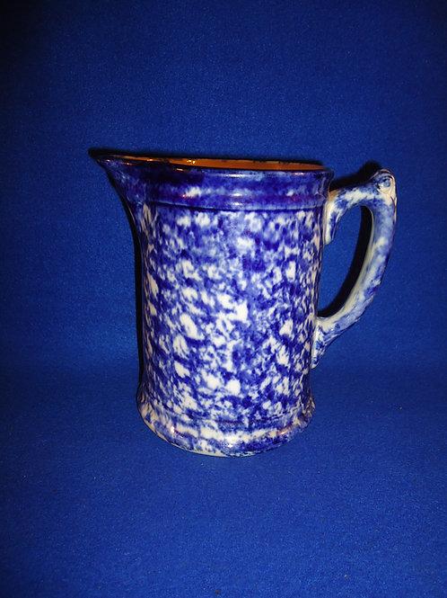 Blue and White Spongeware Stoneware Pitcher, Deep Cobalt #5134