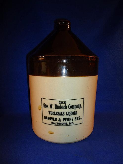 George Umbach, Liquor Dealer, Baltimore, Maryland Stoneware 2g Gallon Jug