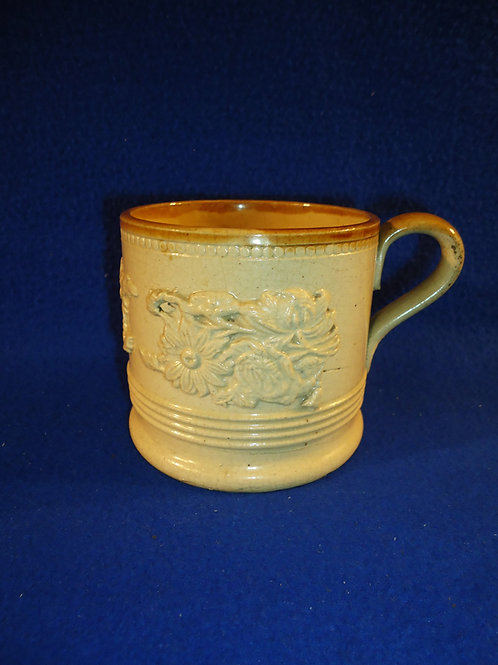 Late 19th Century English Yellow Ware Mug with Applied Florals