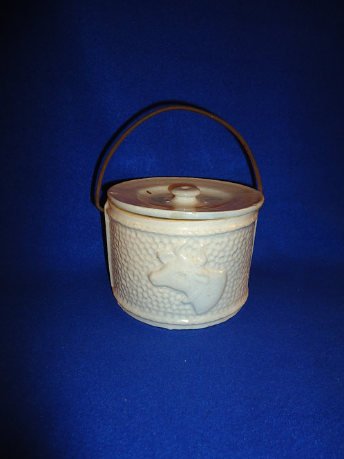 Rare Jersey Cow Stoneware Butter Crock with Lid and Bail, #4761