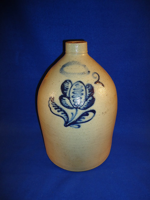 J. Burger, Jr., Rochester, New York Stoneware Jug with Tulip #5075