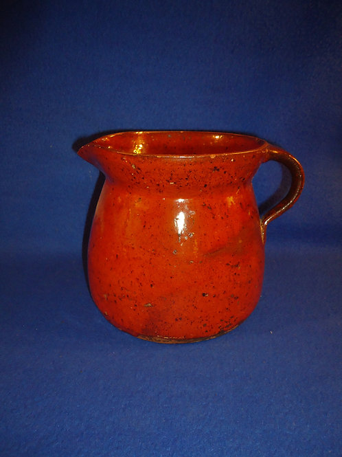 19th Century Pennsylvania Redware Batter Pitcher #5431