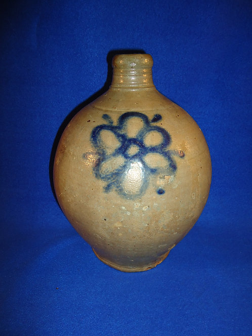 Circa 1790's Stoneware Ovoid Jug from Manhattan with Floral