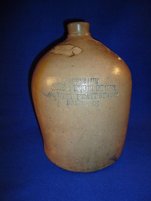 M. Greenbaum, Wine & Liquor Dealer, Baltimore, Maryland Stoneware Jug