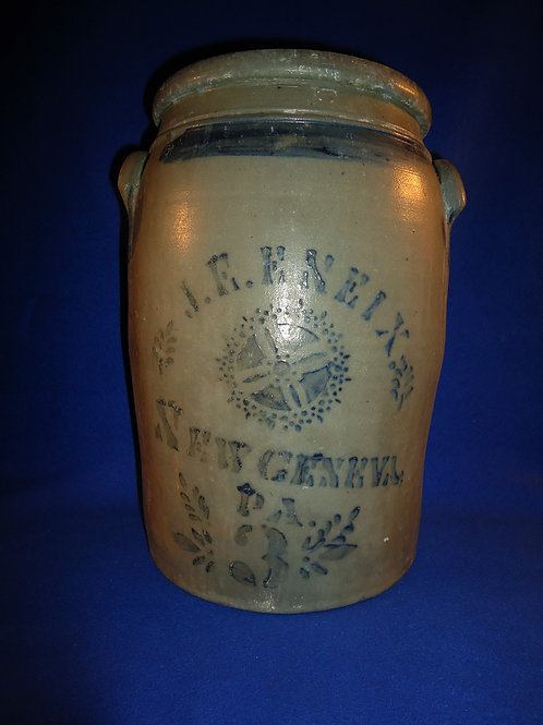 J. E. Eneix, New Geneva, Pennsylvania Stoneware 3 Gallon Jar