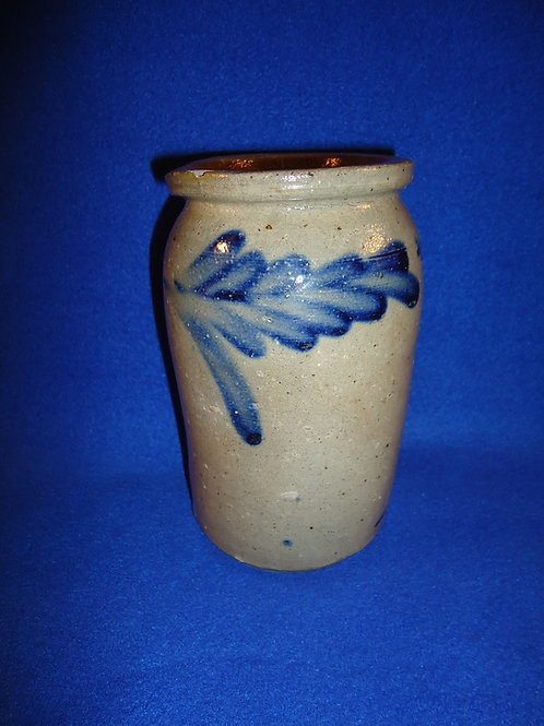 Circa 1860 Tiny Decorated Stoneware Jar from Baltimore, Maryland