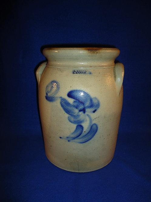 Lyons, N.Y. 2 Gallon Stoneware Preserve Jar with Tulip att. T. Harrington #5050