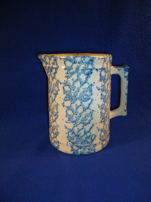 Uncommon Blue and White Spongeware Stoneware Pitcher with Vertical Sponging