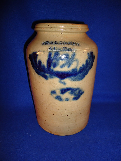 Clark and Fox, Athens, New York Stoneware 1g Jar Dated 1831