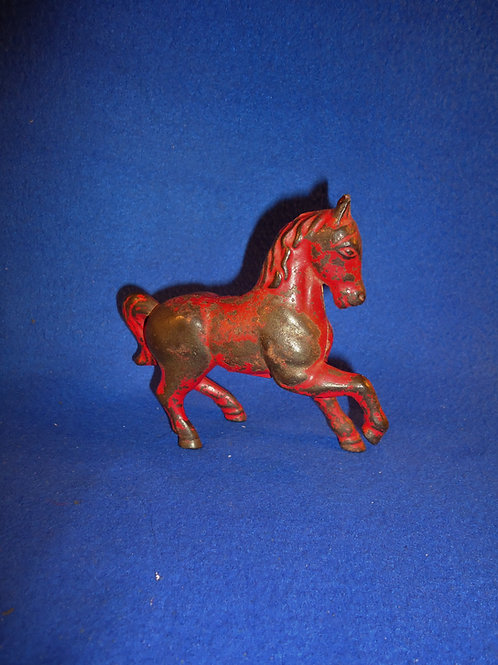 """Cast Iron Still Bank, """"Prancing Horse"""" in Red Paint #5452"""