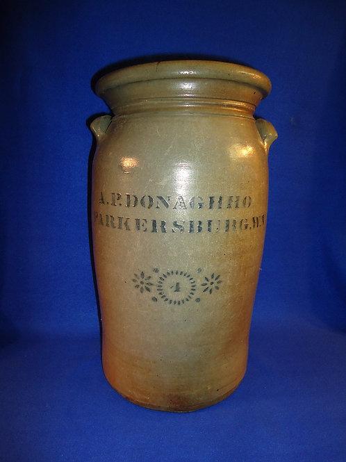 A. P. Donaghho, Parkersburg, West Virginia Stoneware 4 Gallon Churn