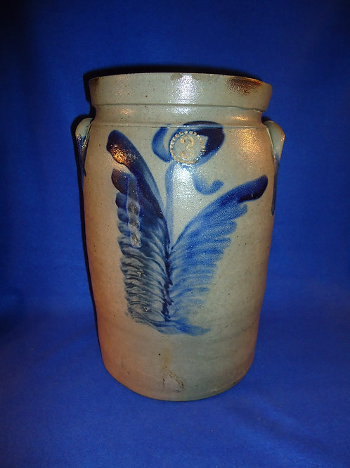 Keesee and Parr, Richmond, Virginia Stoneware 3 Gallon Jar with Huge Tulips