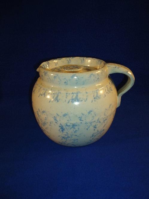 Blue and White Spongeware 2 Quart Stoneware Bean Pot with Original Lid