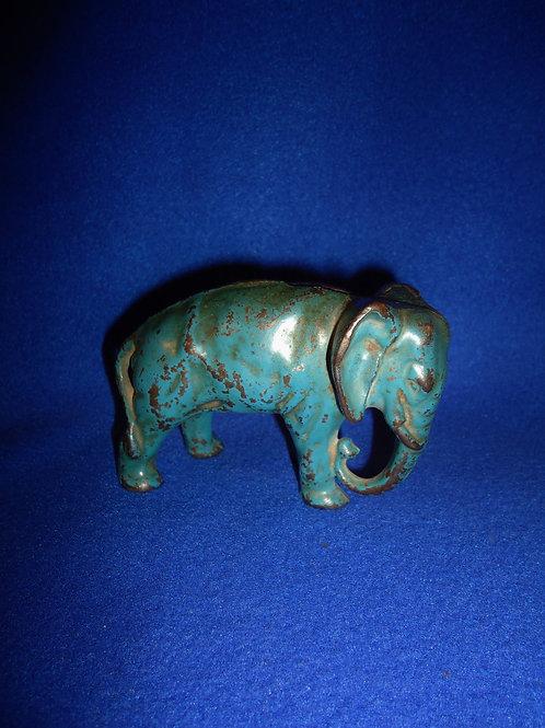 ARCADE Elephant Cast Iron Still Bank in Blue