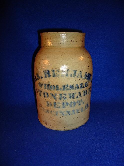 James Benjamin, Cincinnati, Ohio 1/2 Gallon Stoneware Wax Sealer