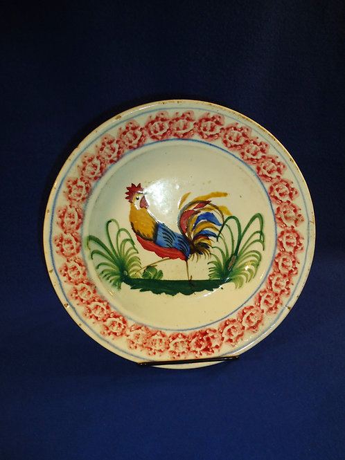 Earthenware Stick Spatter Soup Bowl with Cockerel, att. Wales