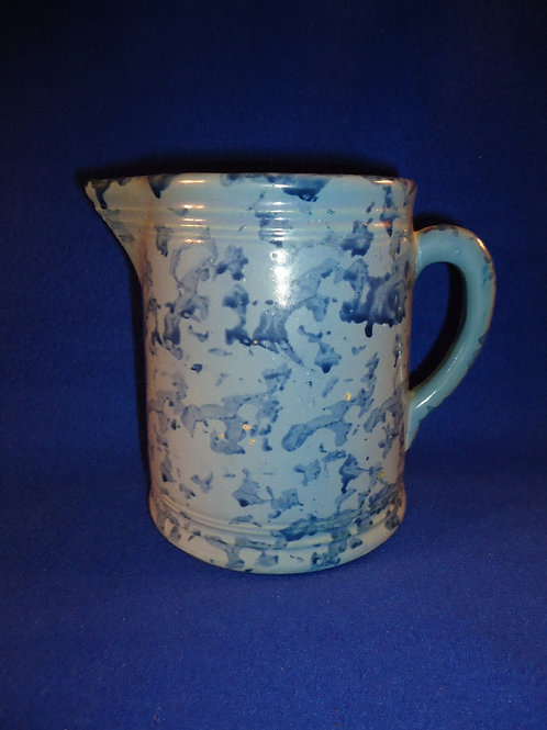 Blue on Blue Spongeware Stoneware Hallboy Pitcher