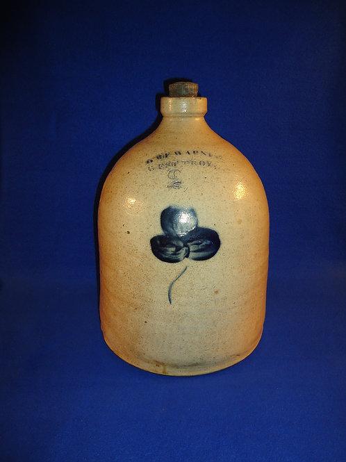 William Warner, West Troy, New York Stoneware Jug with Three Leaf Clover, #4779