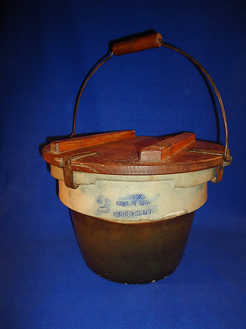 Hubbell and Chesebro, Geddes, New York Stoneware 2 Gallon Crock with Locking Lid