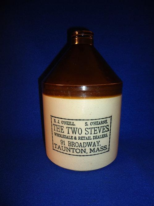 """The Two Steves"", Taunton, Massachusetts Stoneware Jug"