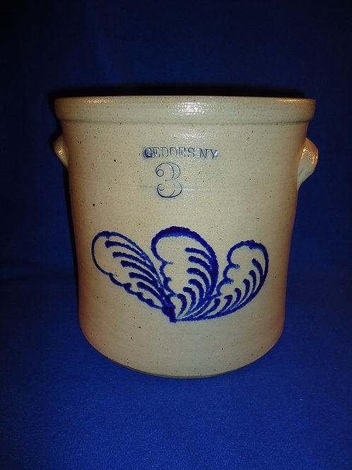 Geddes, New York Stoneware 3 Gallon Crock with Triple Leaves
