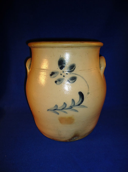 3 Gallon Salt Glaze Cream Pot with Flower, att. Edmands of Charlestown, MA