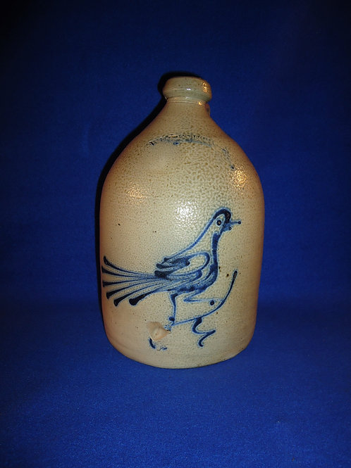Whites Pottery of Utica, N.Y. Stoneware 1 Gallon Jug with Fantail Bird