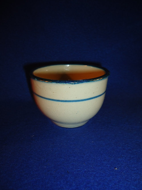 Blue and White Stoneware Striped Custard Cup