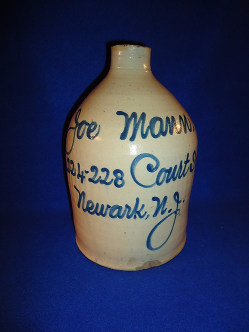 Joe Mann, Newark, New Jersey Stoneware Script Jug, att. Fulper of Flemington