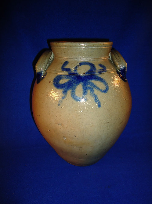 Circa 1830 Stoneware 1 Gallon Ovoid Jar with Cobalt Floral