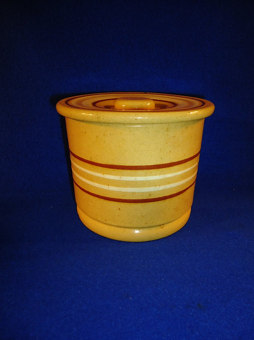 Yellow Ware Butter Crock and Matching Lid with Rust and White Slip Banding