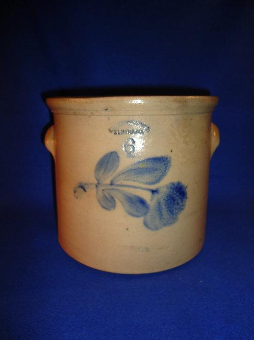 E. W. Farrington, Elmira, N.Y. 6 Quart Stoneware Crock with Tulip