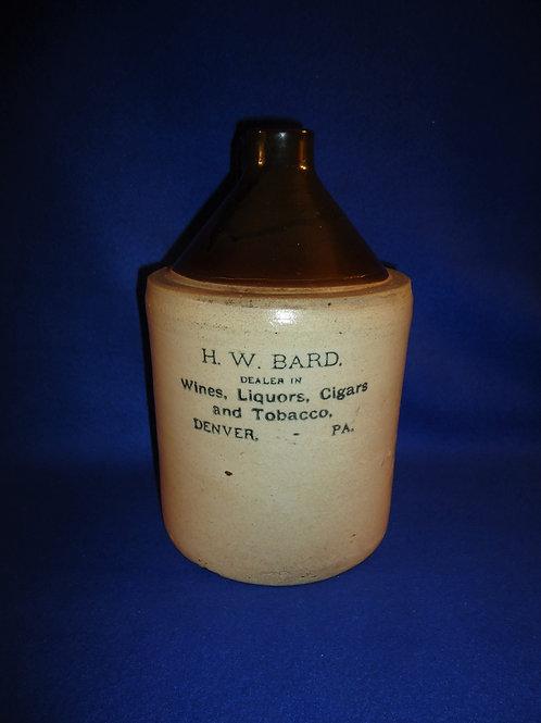 H. W. Bard, Denver, Pennsylvania, Wines, Cigars, & Tobacco Stoneware Jug #5370