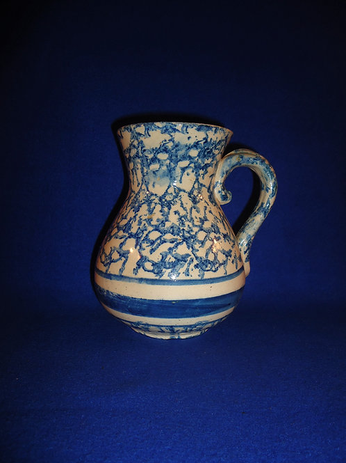 Blue and White Spongeware Stoneware Hot Water Pitcher #4996