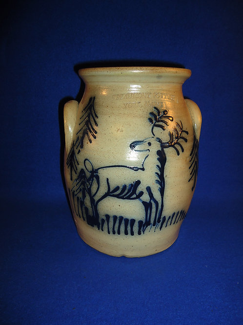 Beaumont Pottery, York, Maine Stoneware Jar with Stag in the Woods #5132