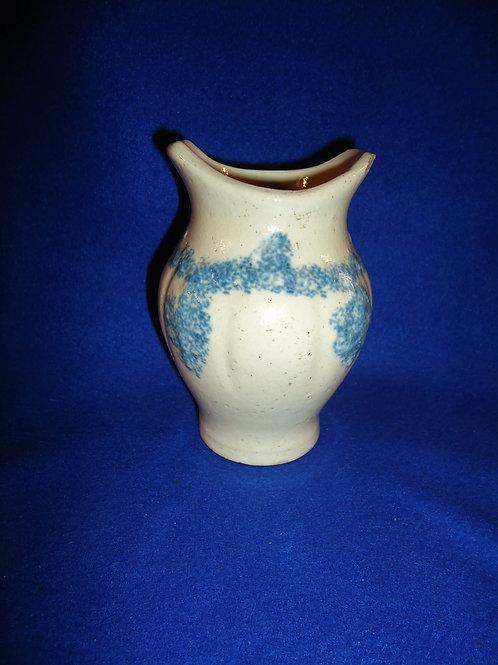 Blue and White Drape and Tassel Spongeware Stoneware Toothbrush Holder #4494