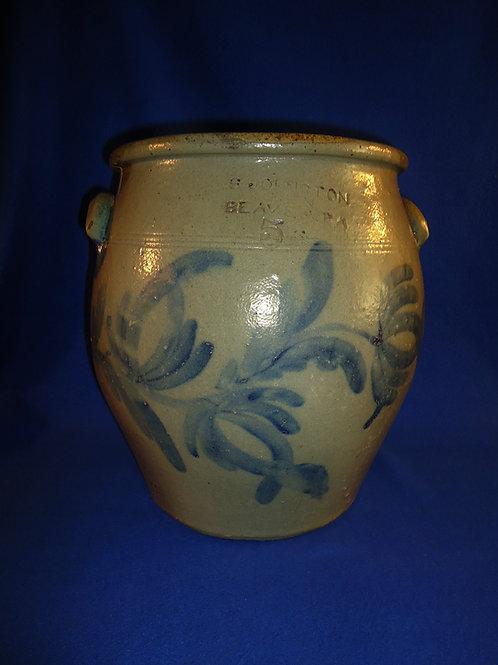 S. Johnson & Son, Beaver, Pennsylvania Stoneware 5 Gallon Ovoid Jar, #4880